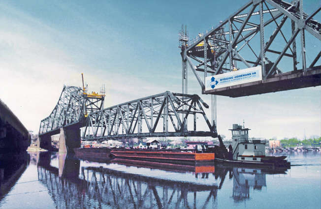 Heavy lifting equipment for bridge installation