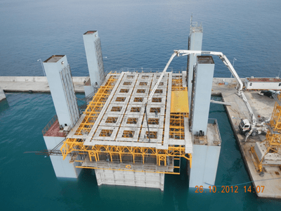 Gantry Slipform, Caissons for Breakwater Wall - Corfu, Greece - bygging uddemann