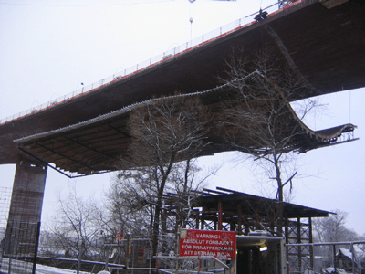 Lifting of Formwork, Bridge - Årsta, Sweden